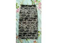 Cream/black aztec pattern AX Paris pencil skirt size 8