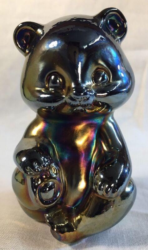 Fenton Art Glass Marigold Carnival Cobalt Blue Bear