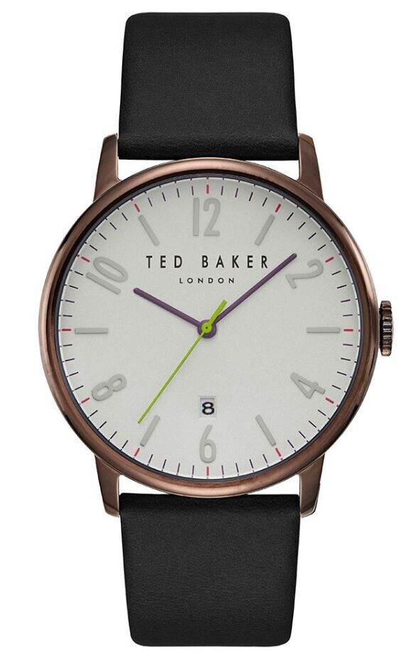 49b5ed36ec93 Ted Baker - Men s DANIEL Stainless Steel Watch Black Leather Strap  (TE15067003)