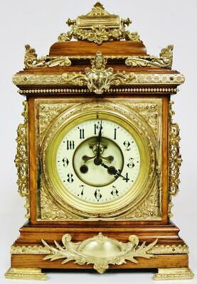 Sublime Antique French 8Day Carved Oak & Bronze Ormolu Mounts Cube Bracket Clock French Oak Cubes