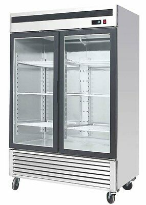 Commercial 55 Glass 2 Double Door Freezer Reach In Merchandiser Cooler Mcf8703