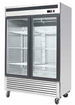 Commercial 55 Glass 2 Double Door Freezer Reach In Merchandiser Cooler Mcf8703