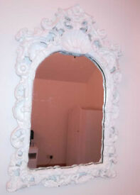 White Baroque Style Wall Mirror