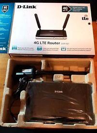 D-Link DW 4G/3G LTE Sim Slot Unlocked Wireless Mobile Broadband Router 4 Port Ethernet DWR-921/B