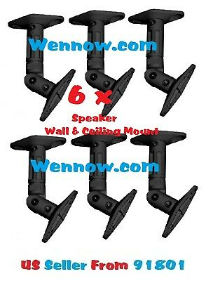 - Set 6 Speaker Ceiling / Wall Mounting - Black Max 10LBS