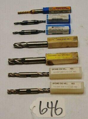 Lot Of 7 Various End Mill Cutters Preowned 646