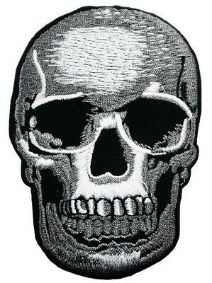 Iron On Embroidered Applique Patch SMALL Human Skull Halloween Gothic 037 - Iron On Halloween Appliques