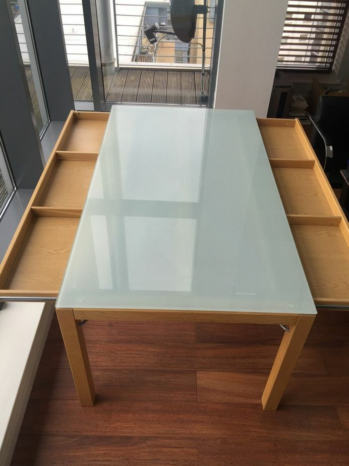 Ikea dining table office desk oak base frosted glass top for Ikea glass table tops