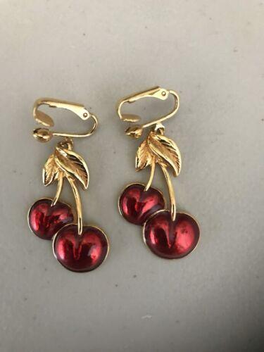 Vintage Avon Cherry Red Clip-on Goldtone Dangle Earrings