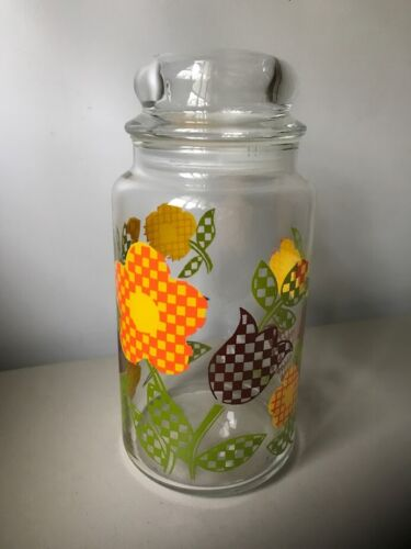 Vintage Glass Apothecary Jar with Harvest Check Flowers