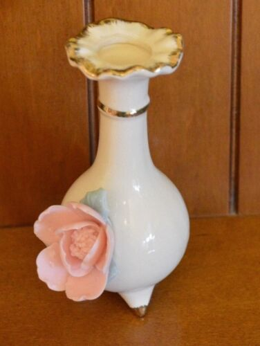 """Small Bud Vase Ceramic 5.5"""" white with pink rose, footed"""