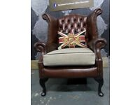 Stunning Chesterfield Queen Anne Wing Back Chair in Brown Leather - UK Delivery