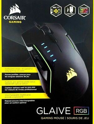 Corsair GLAIVE Wired Optical Gaming Mouse RGB Lights 6 Button Program 16000 DPI