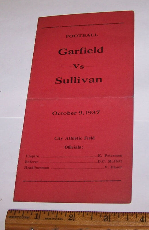 1937 GARFIELD vs SULLIVAN High School Football Program TERRE HAUTE INDIANA