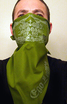 OLIVE GLOW IN THE DARK SKULL BANDANA MASK PAINTBALL FACE SUBDUED FROG GREEN RAG