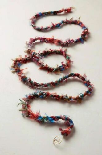 NEW Anthropologie Multi-Color Tucked and Trimmed Ribbon Garland Glass Beads