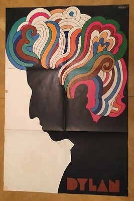 Vintage Milton Glaser Bob Dylan Poster Psychedelic Pin-up 1960's Rainbow Hair