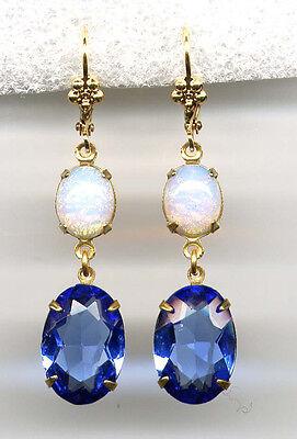SAPPHIRE BLUE w FIRE OPAL crystal EARRINGS 14K Gold gp Levers *Vintage Czech