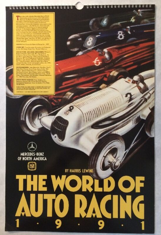 """VTG 1991 Mercedes-Benz Issued """"The World Of Auto Racing"""" 14-1/2""""x22"""" Calendar"""