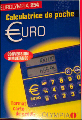 Lot de 160 calculatrices convertisseurs Euro format carte crédit Olympia