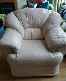 Cream Faux leather Armchair and Puff