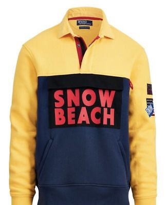 Polo Ralph Lauren Snow Beach Yellow Fleece Rugby Shirt Size XL