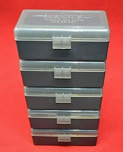 5 x 357 MAG / 38 SPL Ammo Box / Case / Storage 50 Rnd Boxes SMOKE COLOR