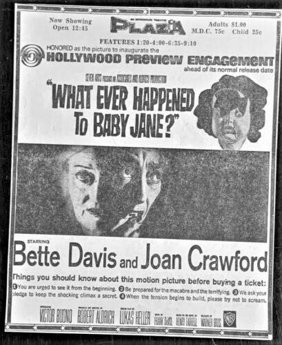 "1962 ""What Ever Happened To Baby Jane"" movie ad - Original"
