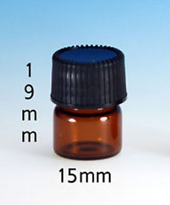 144 Pcs Amber 14 Dram Glass Vials 15mm X 19 Mm Wcaps