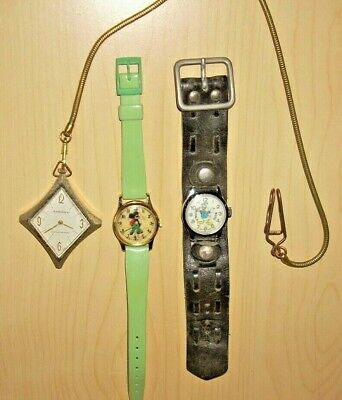 Vintage Watch Lot Swiss Made Donald Duck, Mickey Mouse & Pocket Watch Chain fob