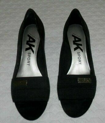 ANNE KLEIN SPORT Women's Clare Black Comfort Low Wedge Shoes sz 6