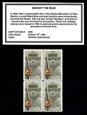 1984 - SMOKEY THE BEAR - Mint -MNH- Block of Four Postage Stamps