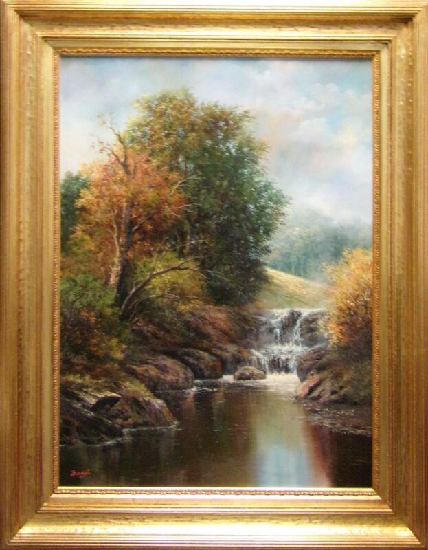 "Bacci ""autumn Scene"" Original Oil On Canvas Hand Signed With Custom Frame"