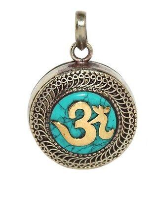 Turquoise Pendant Gau Pendant Yoga Pendant Tibet Pendant Nepal Pendant Om M2