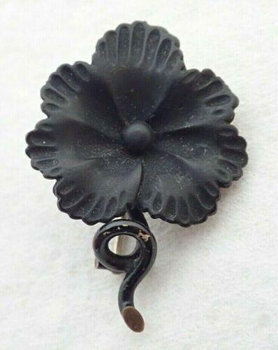 Antique Victorian Black Jet Mourning Pansy Flower Gold Filled Enamel Brooch Pin