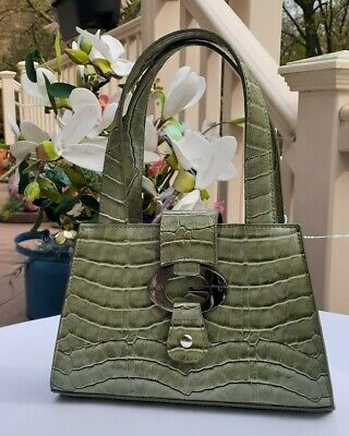 GUESS MINI SAGE GREEN PATENT LEATHER BAG PURSE  5.5 X 8.5 LKNU!