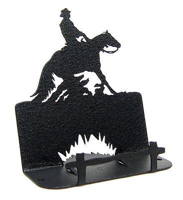 Reining Horse Black Metal Business Card Holder