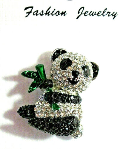 "Panda bear Brooch pin 1""x 1.5"" GIFT silver tone gift idea #3 mothers day party"