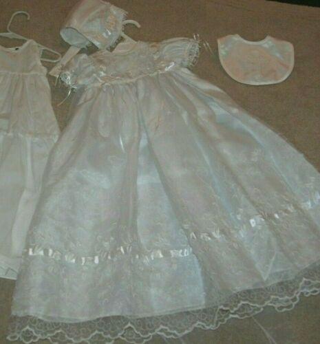 Baby Christening Gown/Dress Size 9-12 Months, Dress Slip Bonnet & Bib