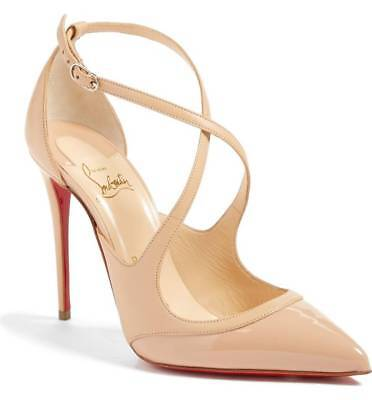 NIB Christian Louboutin CRISSOS 100 Patent & Leather Beige Pointy Heel Shoe 41.5