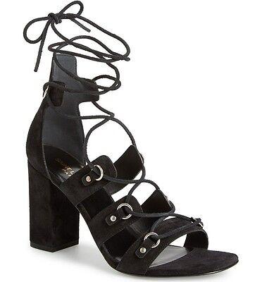 NIB SAINT LAURENT BABIES Eyelet Block Heel Ghillie Lace Up Sandal Shoe 9.5 BLACK