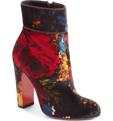 NIB Christian Louboutin MOULAMAX Floral 85 BLACK RED Velvet Heel Ankle Bootie 36