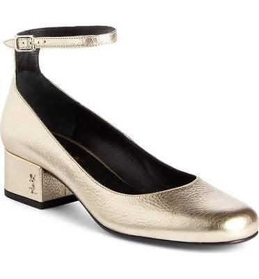 Saint Laurent BABIES Ankle Strap Pump Shoe Logo Low Heel Metallic Gold 38.5 - 8