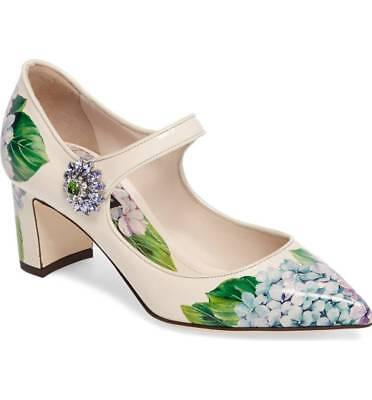 NEW $945 Auth. Dolce & Gabbana Hydrangea Mary Jane Pump Cream 36.5 IT/ 6 US