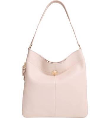 NWOT $475+ Tory Burch IVY Bedrock Beige Pink Hobo Shoulder Bag Side Zip Expand