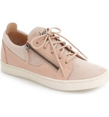 $595 GIUSEPPE ZANOTTI Low Top Zip Lace up Sneaker Shoe Suede Leather ROSA 40 - 9 for sale  Shipping to Nigeria