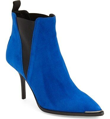 New ACNE Studios Jens Indigo Blue Suede Pointy Toe Ankle Boot Heels Women 36/6US