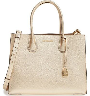 5b6da87c636e Michael Kors Mercer Large Convertible Leather Tote Bag Pale Gold - NEW in  Pack