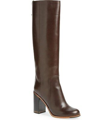 NIB FENDI Goldmine Knee High Boots Dark BROWN Leather Block Heel  37.5 EU 7.5 US