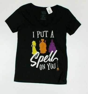 Disney Hocus Pocus Put A Spell On You Women's V-Neck T-Shirt New! Halloween (4C4